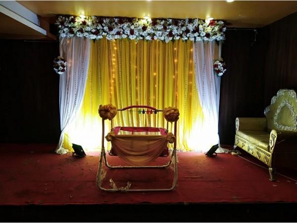 Elegant Yellow  Drape Decoration for Naming Ceremony