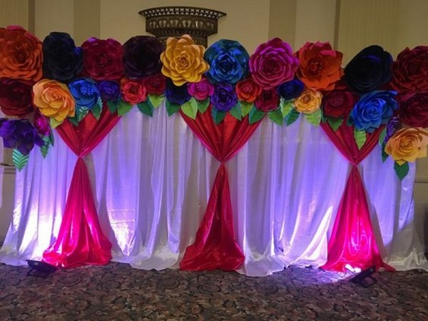 Beautiful Grand Drape Flower Theme Decoration