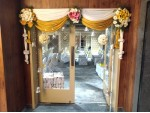 Simple Flower And Drape Baby Shower Decoration