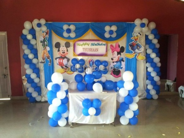 Blue And White Mickey Theme Decoration