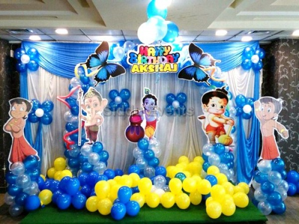 Little Krishna And Chota Bheem Theme Decoration For Birthday