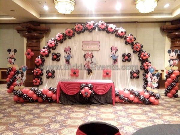 Black And Red Minnie Theme Decoration