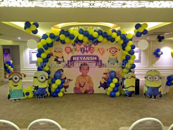 Minion Theme With Balloon Arch Decoration
