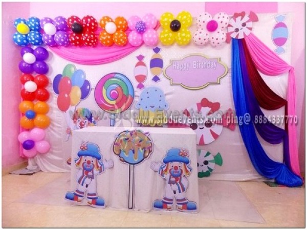 Candy And Mini Clown Backdrop Decoration