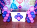 Blue Drape And Balloon Decoration