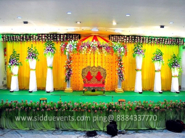 Grand Yellow Backdrop Wedding Decoration